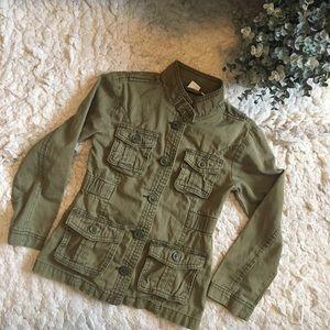 Girls Olive Color Utility Jacket